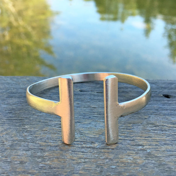Fair trade brass bracelet handmade by women in India