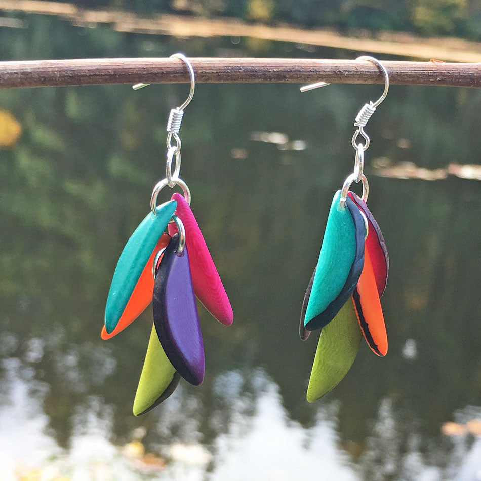 Tagua Fiesta Earrings - Multicolor, Colombia