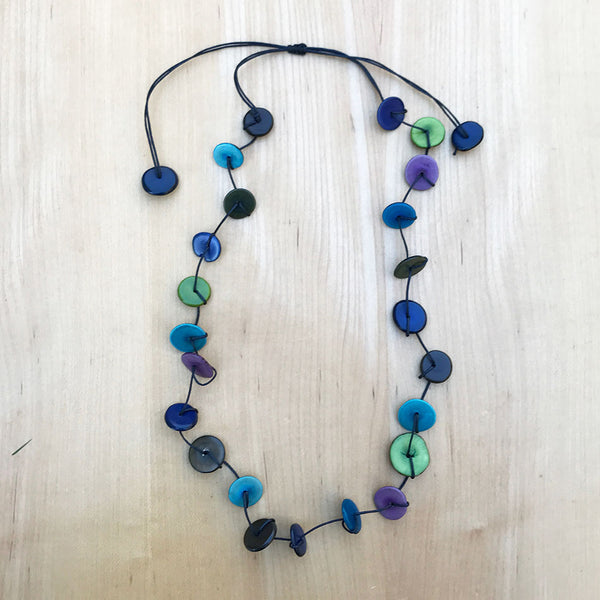 Tagua Single/Double Strand Necklace - Blues, Colombia