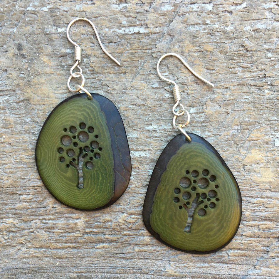 Tagua Tree of Life Earrings - Green, Colombia