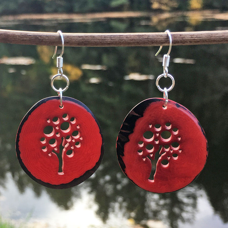 Tagua Tree of Life Earrings - Red, Colombia