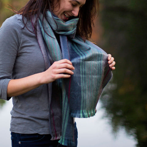 Luxurious Alpaca Scarf - Teal Stripe, Ecuador
