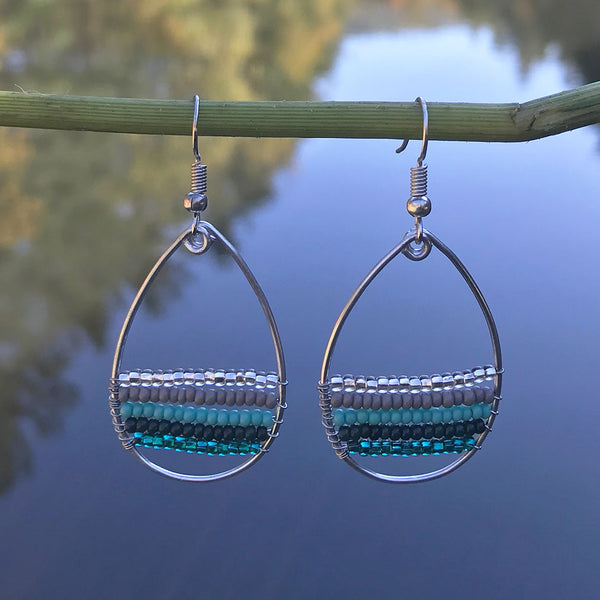 Bonita Teardrop Earrings - Teal, Guatemala