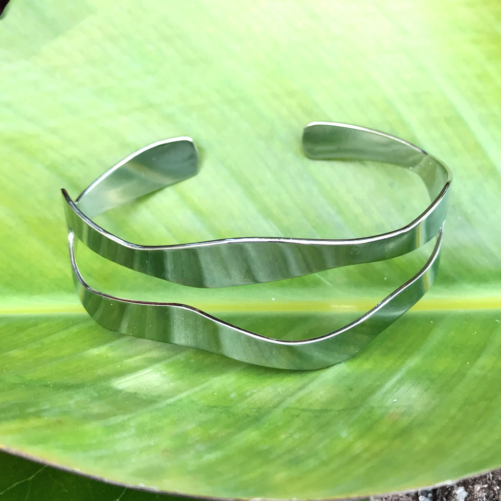 Fair trade silver bracelet cuff handmade by survivors of human trafficking