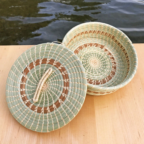 Fair trade pine needle tortilla basket Guatemala