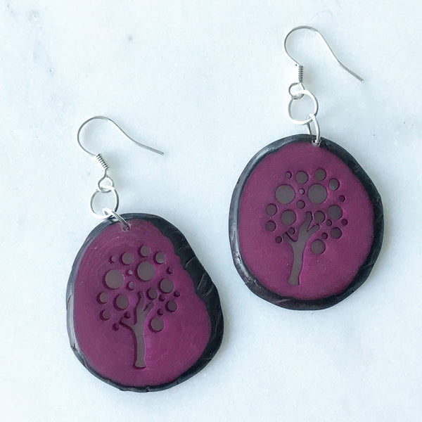 Tagua Tree of Life Earrings - Raspberry, Colombia