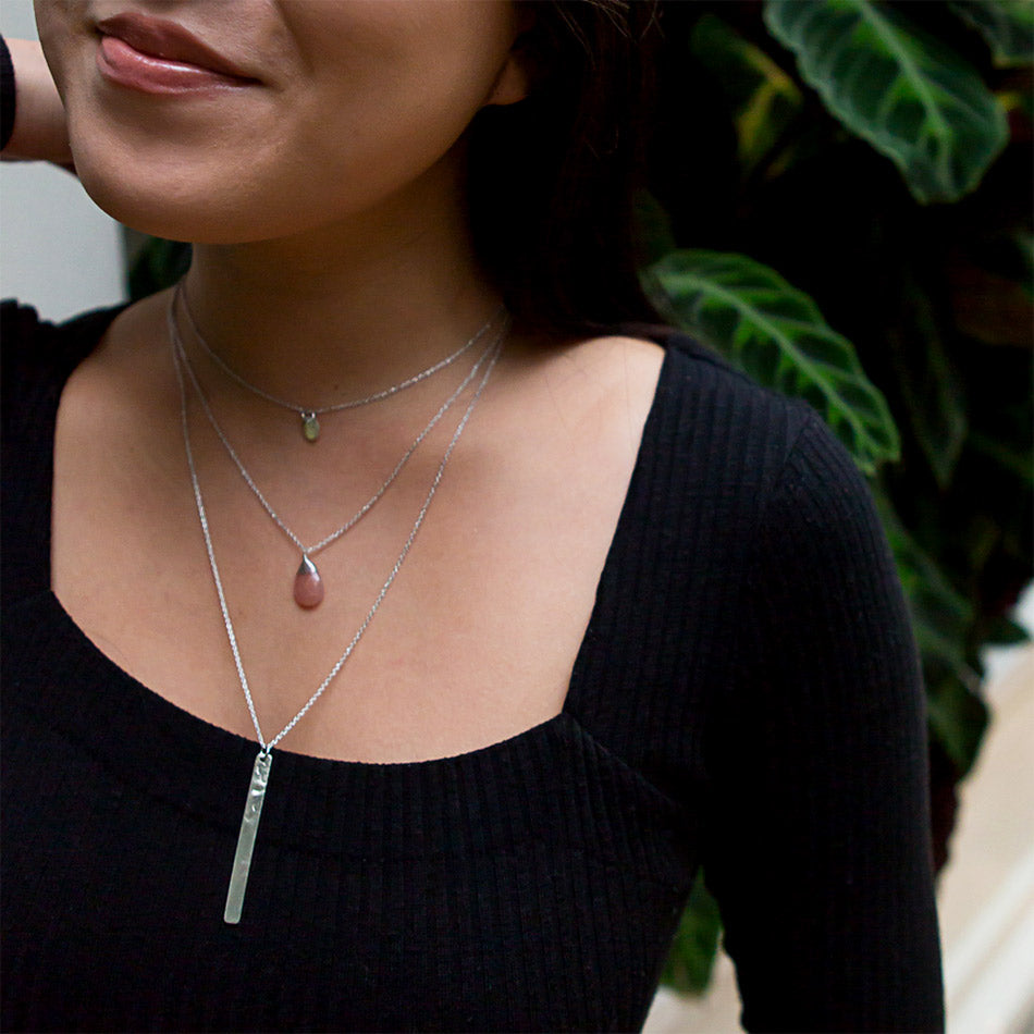 Fair trade layering necklace silver handmade by women in India.