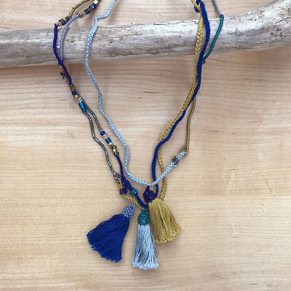Triple Strand Tassel Necklace, Guatemala