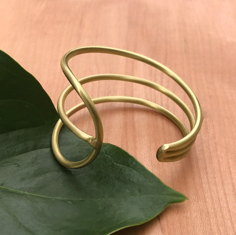 Brass fair trade cuff handmade by women in India
