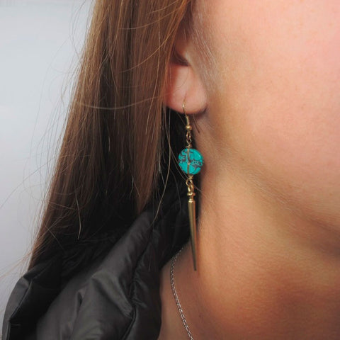 Fair trade brass and turquoise earrings handmade by women in India