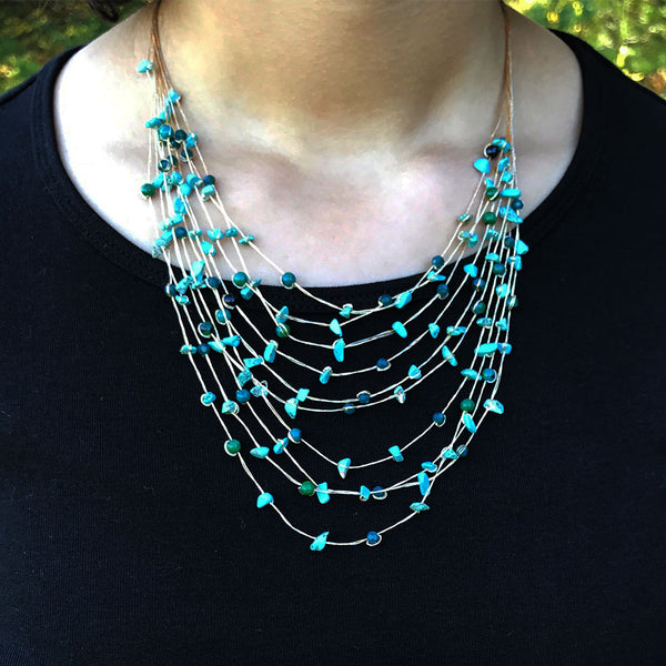 Turquoise silk fair trade necklace from Thailand