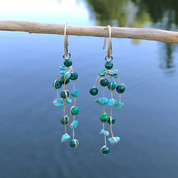 fair trade silk and crystal turquoise earrings handmade in Thailand
