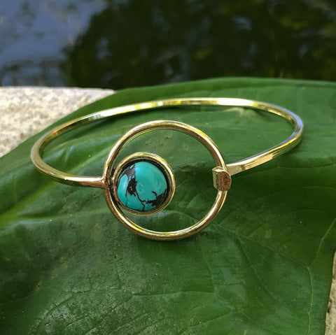 Fair trade gold and turquoise bracelet handmade by women in India
