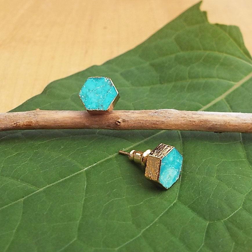 Turquoise stud fair trade earrings handmade by survivors of human trafficking