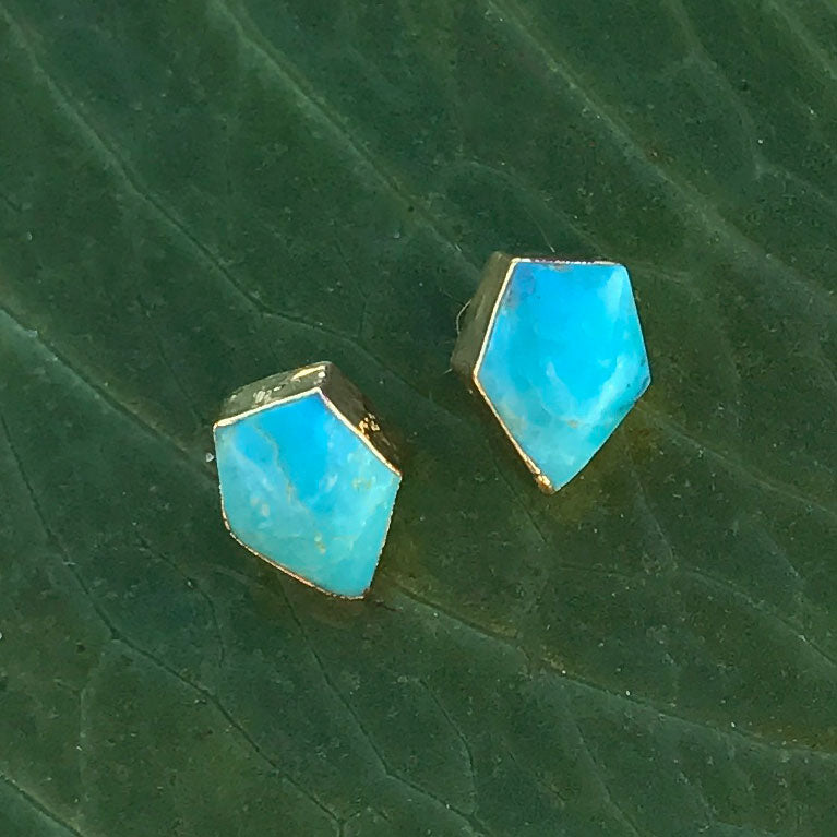 Turquoise fair trade stud earrings handmade by survivors of human trafficking.