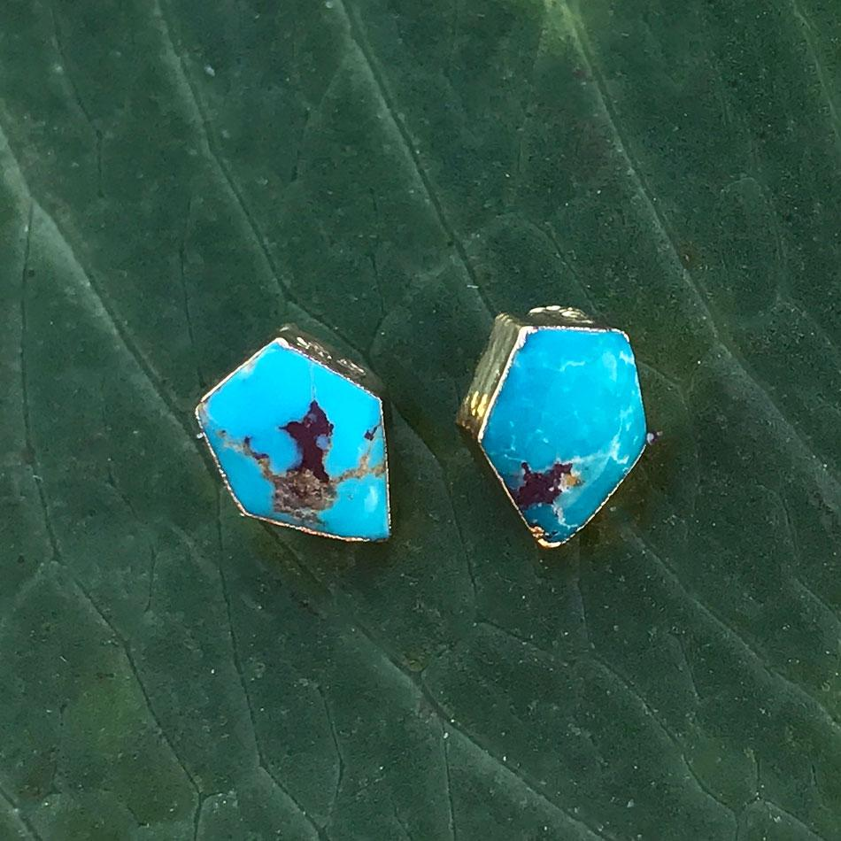 Turquoise fair trade studs handmade by survivors of human trafficking