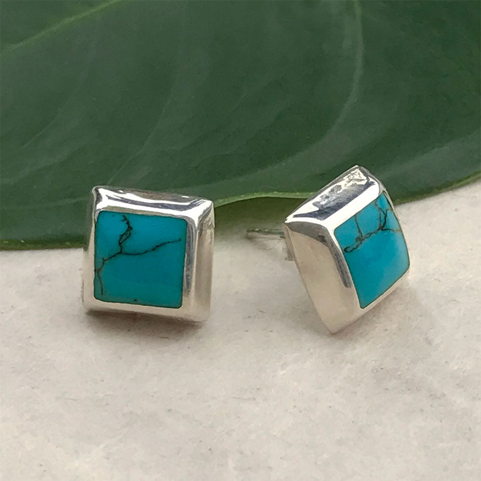 Fair trade sterling silver turquoise stud earrings handmade in Mexico