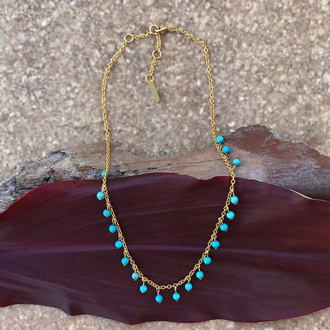 Fair trade turquoise brass necklace handmade in Guatemala