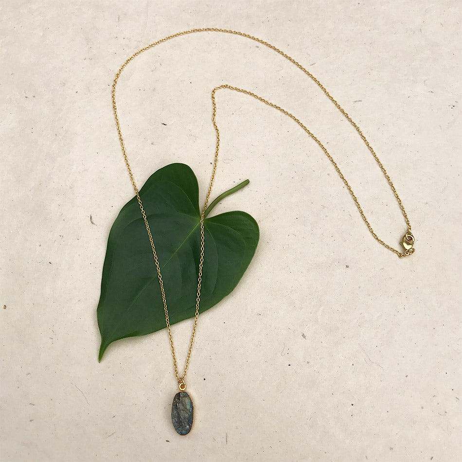 Fair trade labradorite necklace handmade in India