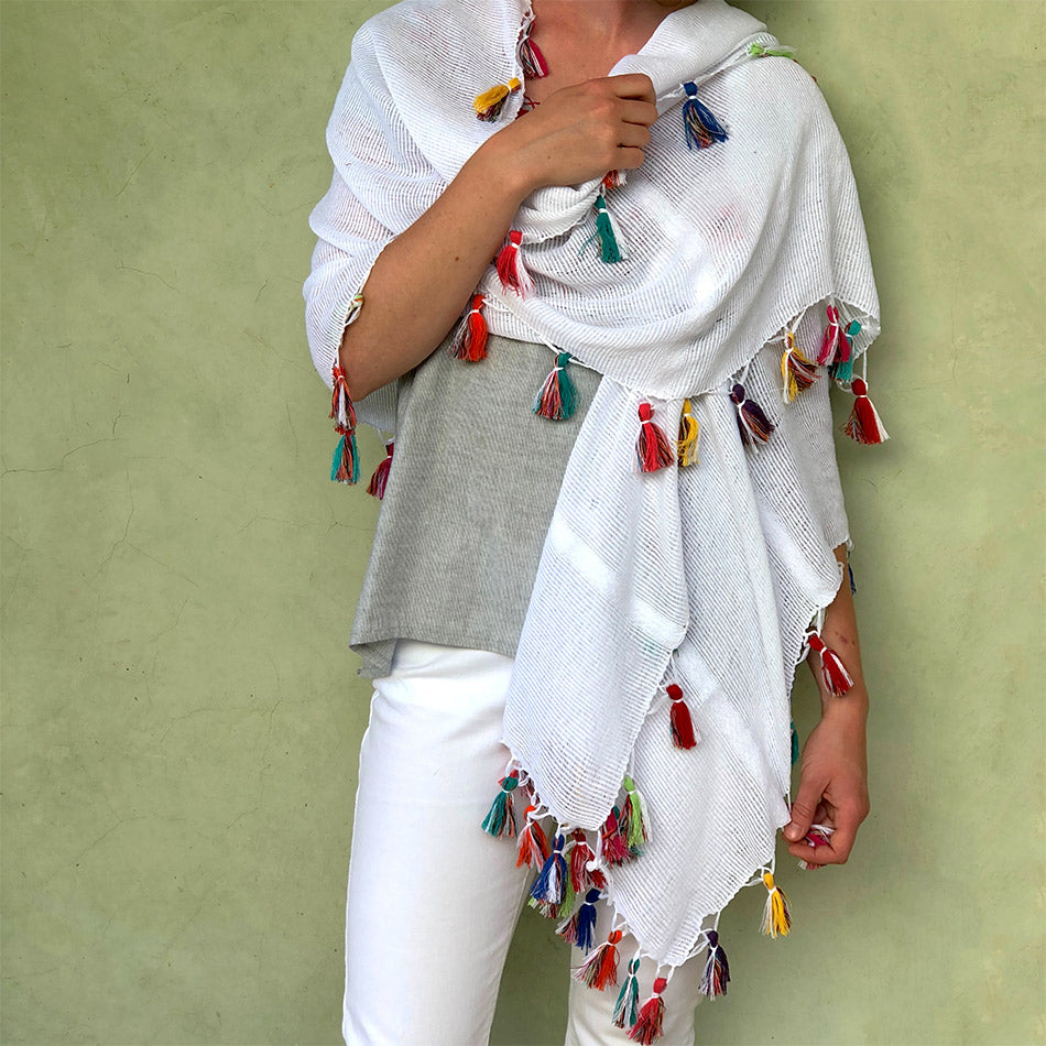 Fair trade cotton wrap shawl scarf handmade in Mexico with tassels