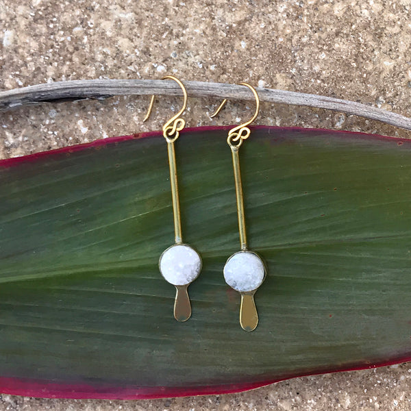 Fair trade brass and druzy earrings handmade by women in Kenya