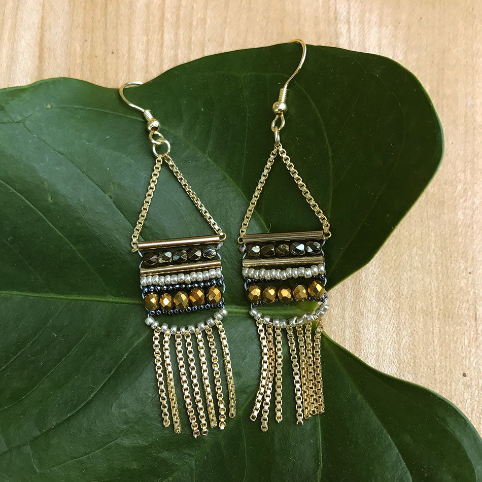 Fair trade brass beaded earrings handmade by women in India