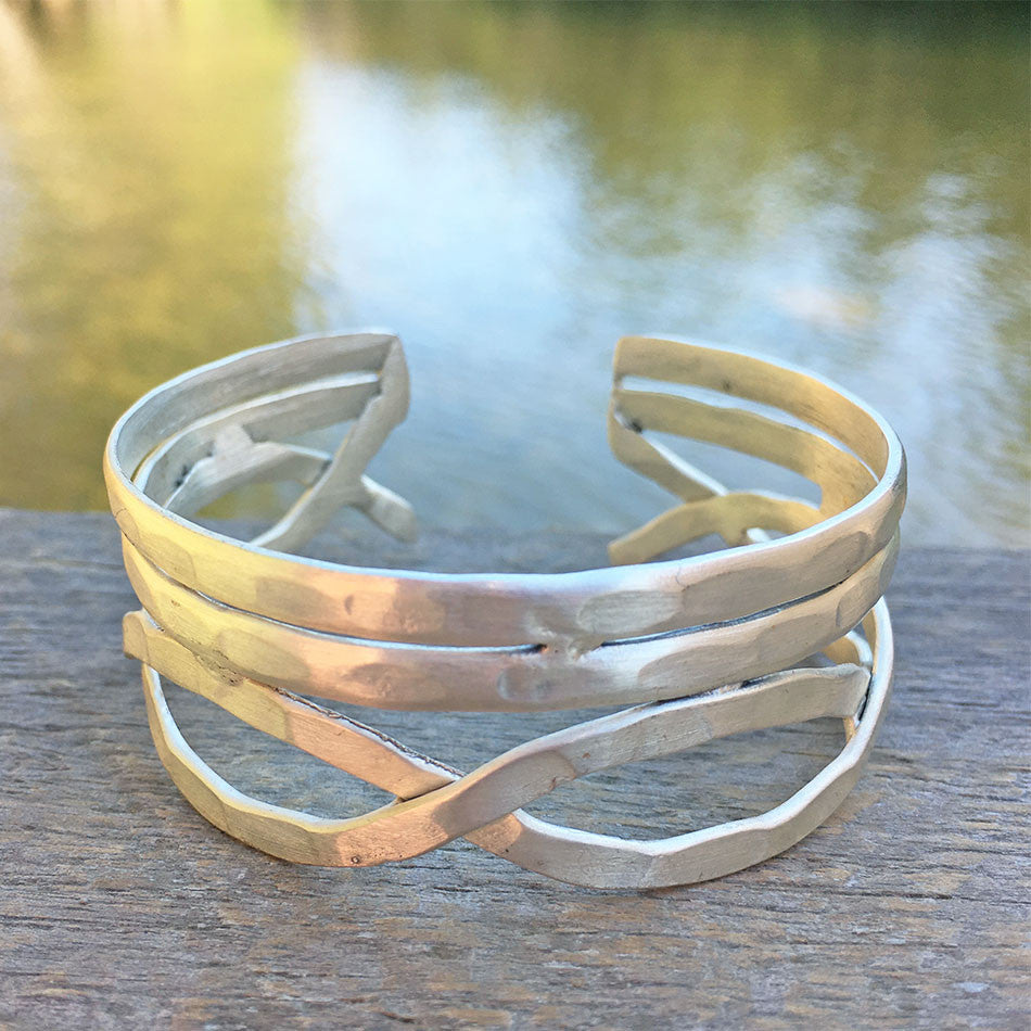 Fair trade silver cuff bracelet from India