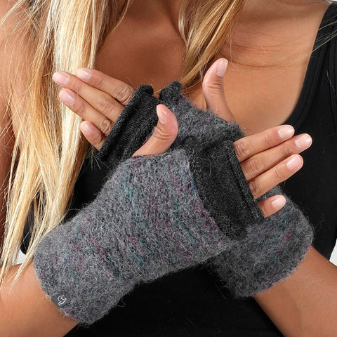 Alpaca Fingerless Gloves, Double Layer - Gray/Black, Peru