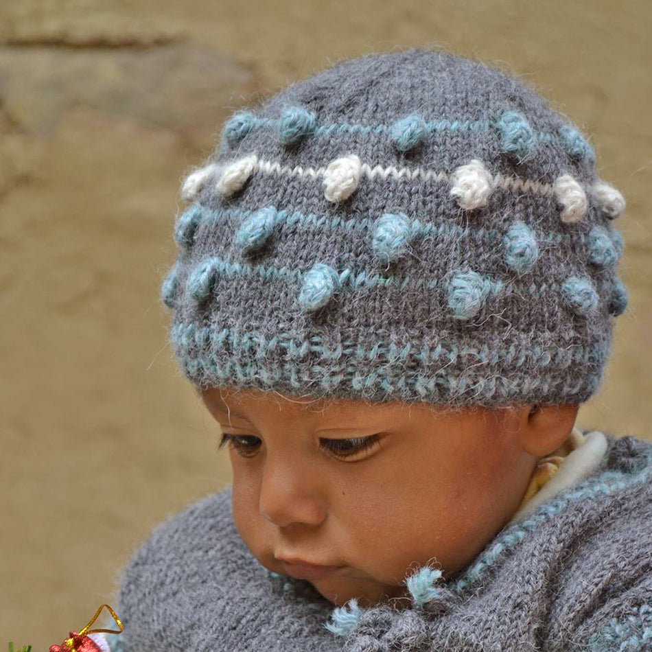Alpaca Baby Hat and Booties -Blue, Peru