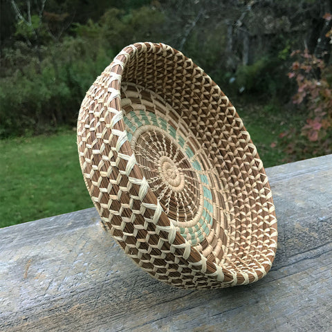 Fair trade pine needle basket handmade by women in Guatemala
