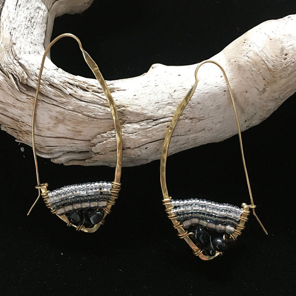 fair trade beaded onyx earrings handmade by deaf women in Kenya