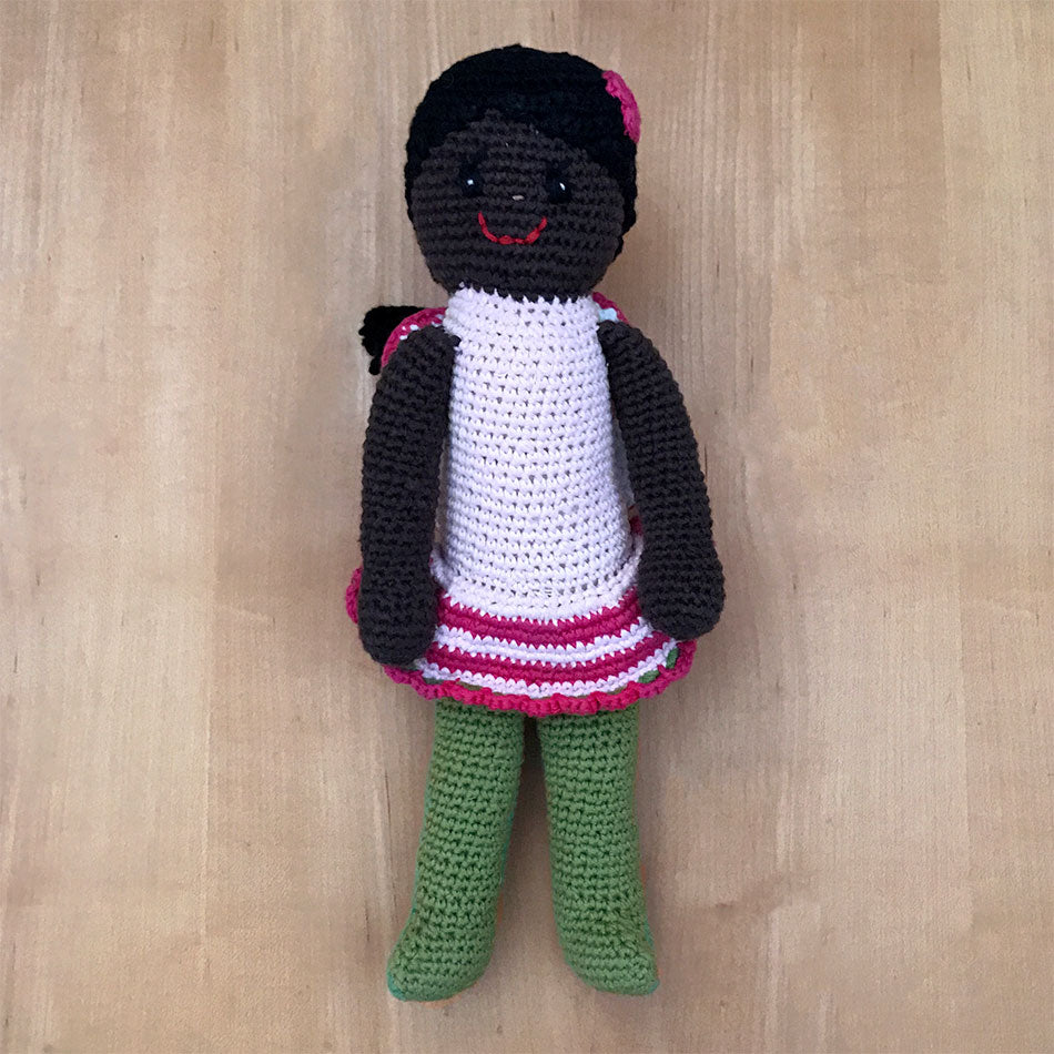 Fair trade African American fairy doll handmade in Bangladesh