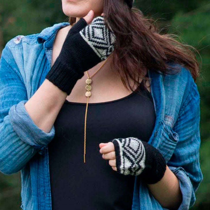 Luxurious Alpaca Fingerless Gloves - Geometric Black, Bolivia