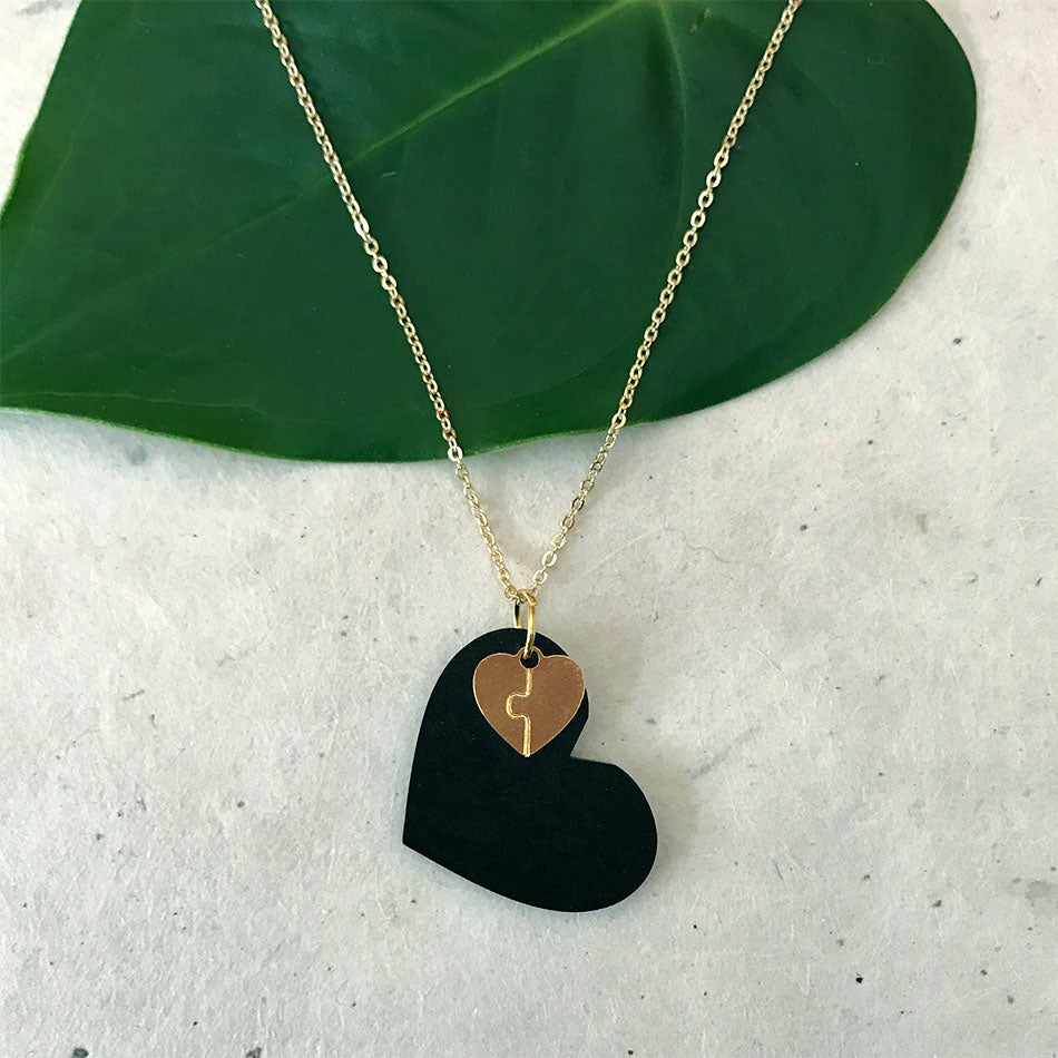 Fair trade tagua heart necklace handmade in Colombia