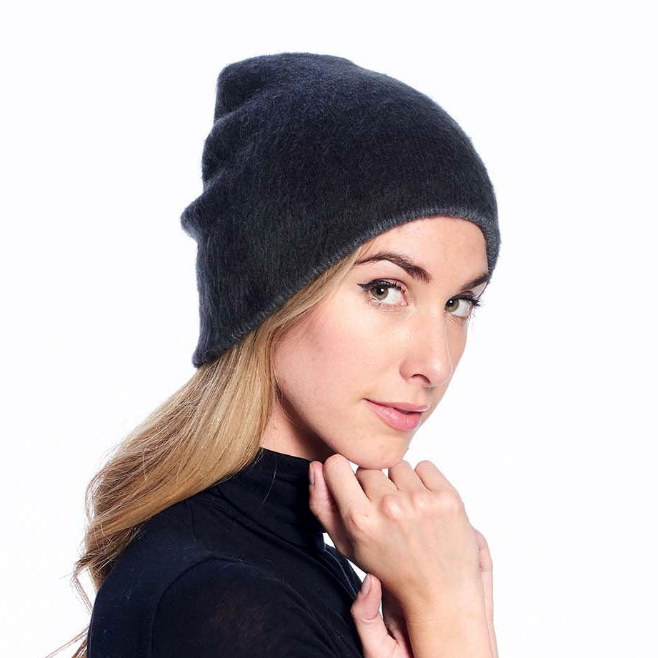 Unisex Reversible Alpaca Hat - Black/Gray, Ecuador