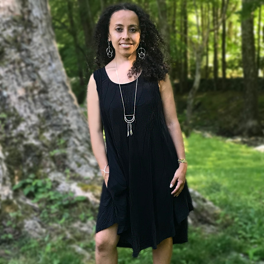 Cotton Pocket Sleeveless Dress - Black, Nepal