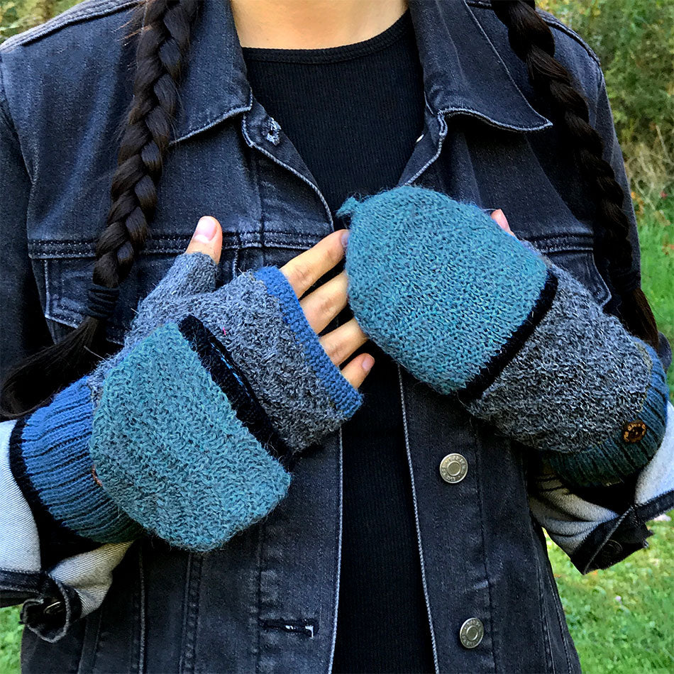 Fair trade alpaca fingerless gloves mittens handmade in Peru