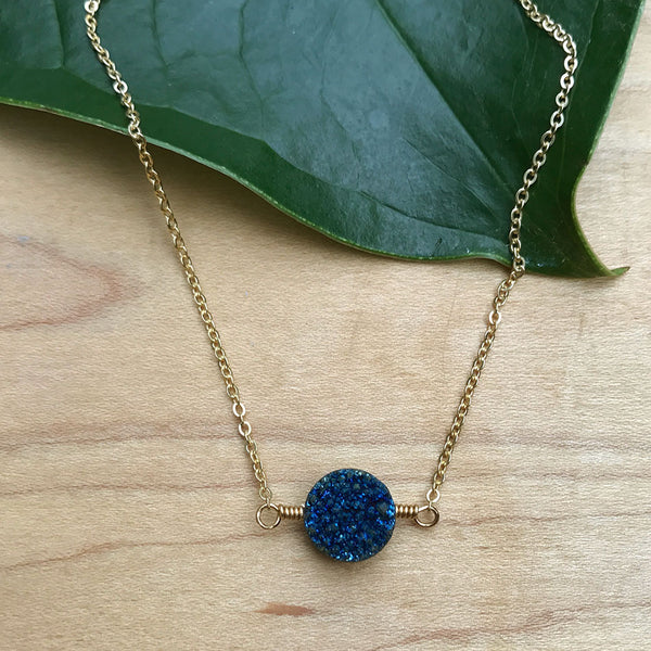 Creating Opportunities Necklace, Blue Druzy- Kenya