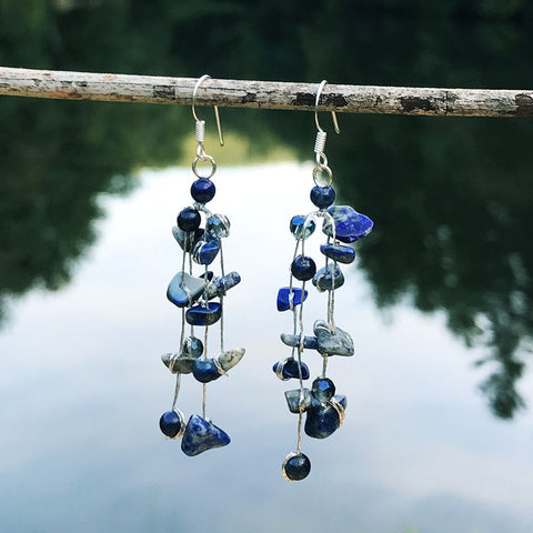 fair trade silk and stone earrings handmade by women in Thailand