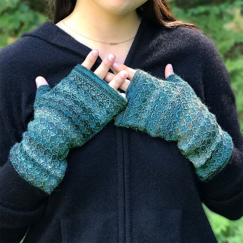 Mixed Color Alpaca Fingerless Gloves - Blue/Green