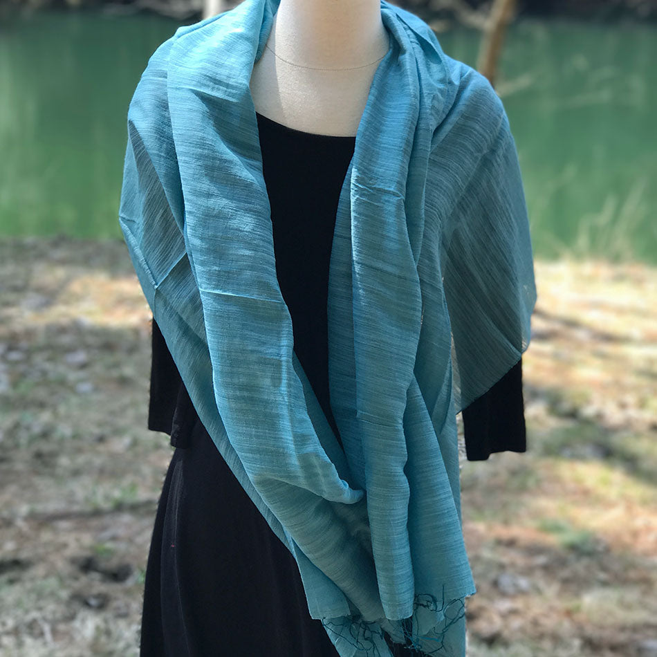 Mai Silk and Cotton Scarf/Wrap - Blue, Vietnam