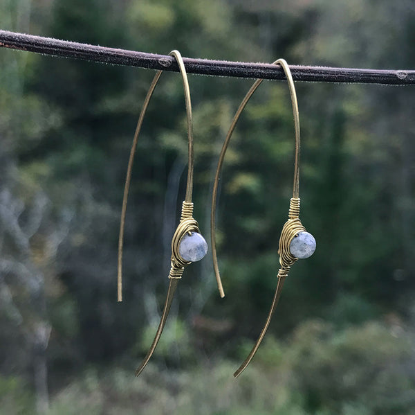 Fair trade brass and labradorite earrings handmade by women in India