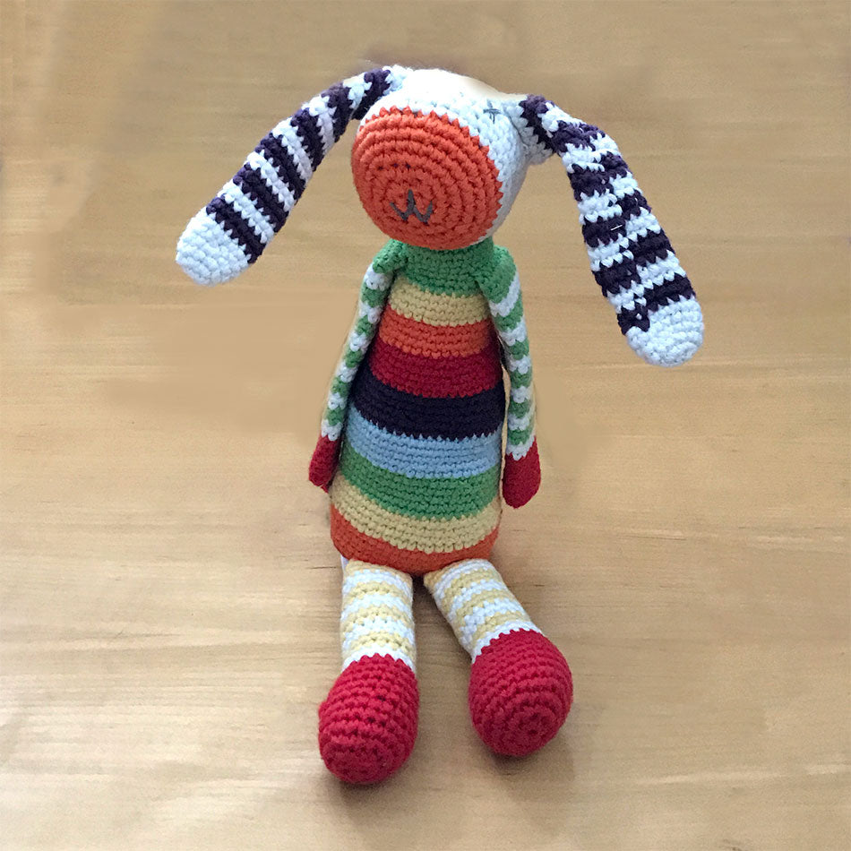 Fair trade rainbow  cotton bunny rattle handmade in Bangladesh