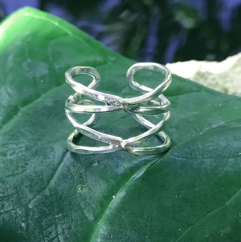 Double Helix Ring - Silver, India