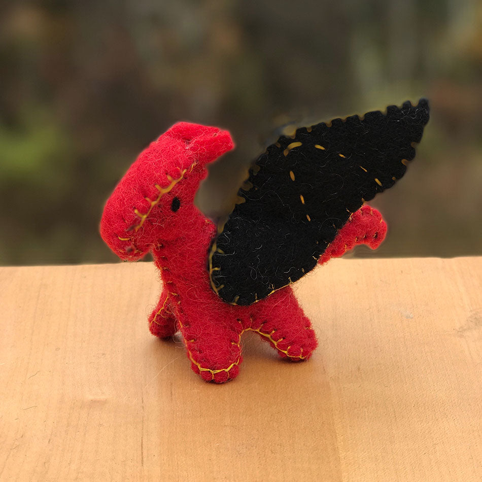 Mini Felted Dragon - Red, Nepal