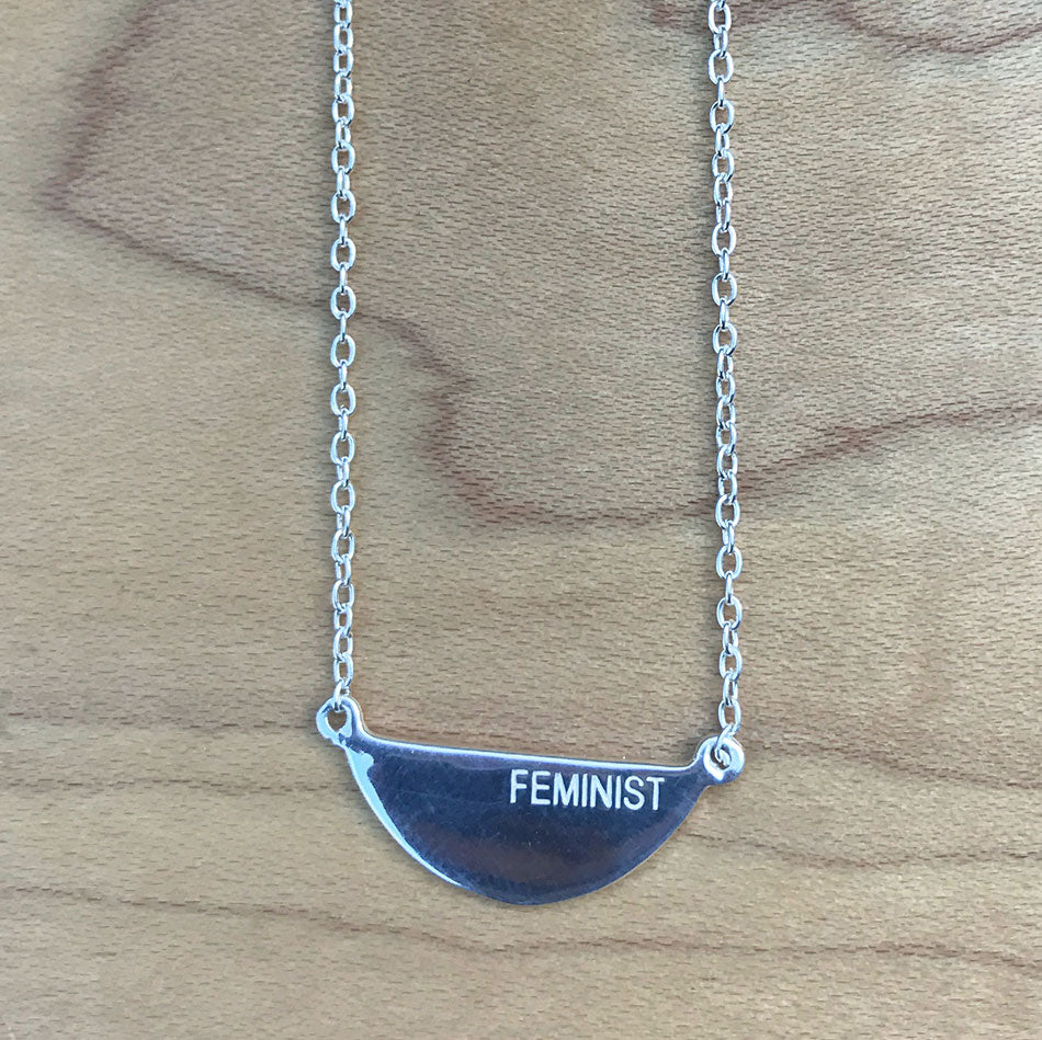Sterling silver fair trade feminist necklace handmade by women in India