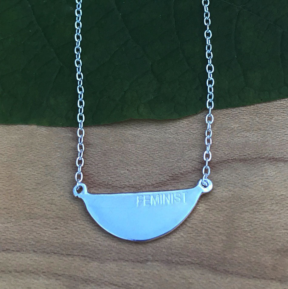 """Feminist"" Engraved Necklace - Sterling Silver, India"