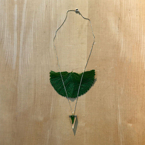 Fern resin fair trade necklace handmade by women in Colombia