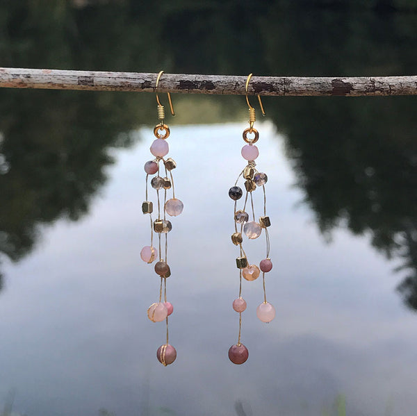 Fair trade silk and crystal earrings handmade by women in Thailand