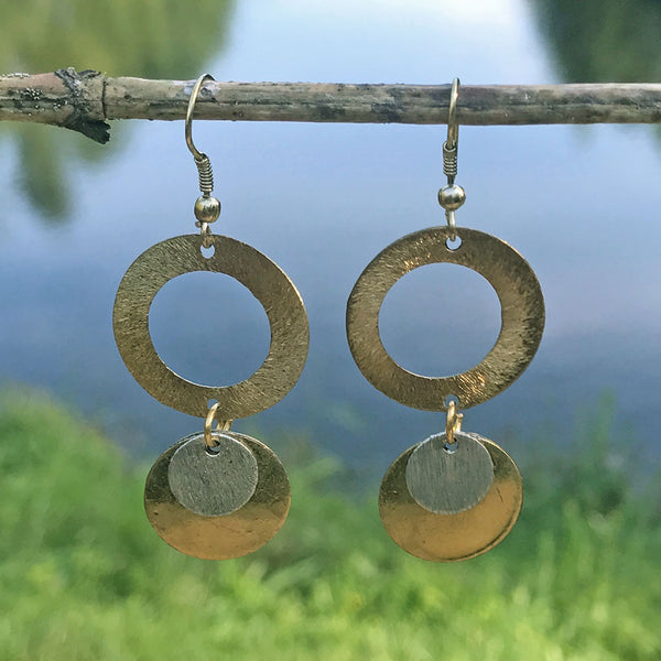 Fair trade recycled brass earrings handmade by women in India